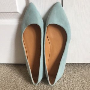 J. Crew Pointed Toe Blue Suede Ballet Flats